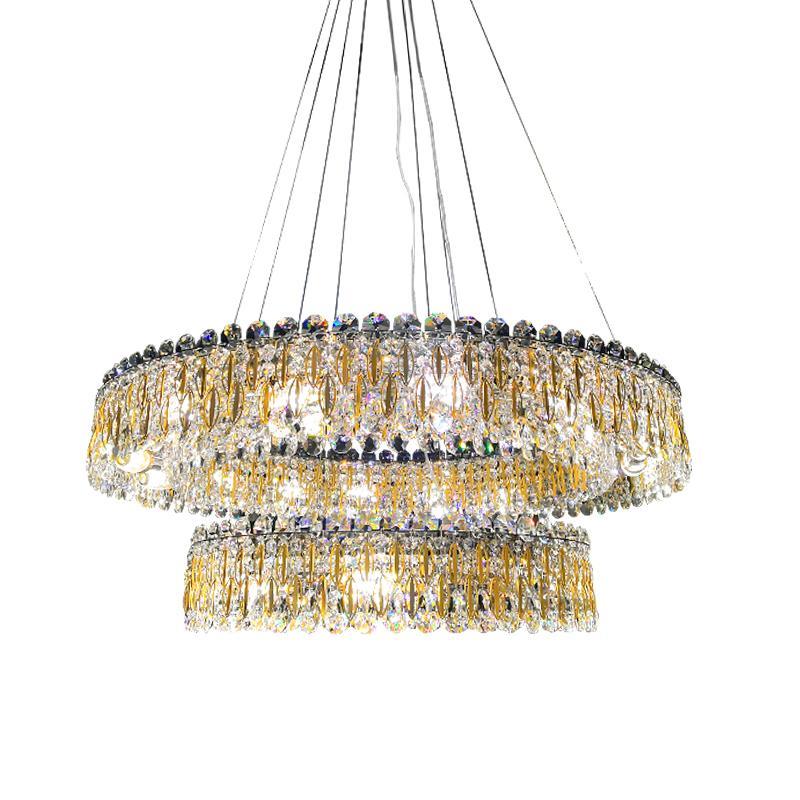 Yeni kristal avize oturma odası yatak odası dekorasyon lamba tasarımcı lüks altın yuvarlak kristal avize