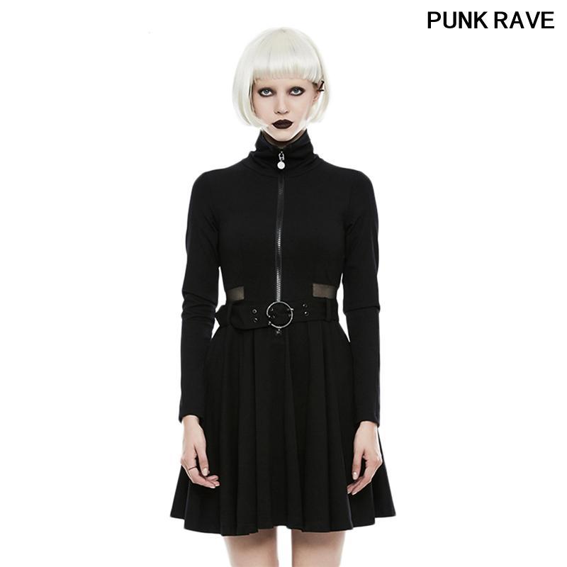 Готическая Высокий ворот сексуальный тонкий женщины черное платье Punk Мода Streetwear ремень с длинным рукавом Плиссированные платье PUNK RAVE OPQ-245LQF
