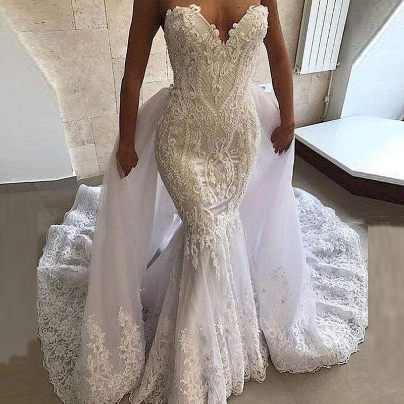 2020 Arabic Aso Ebi Vintage Lace Beaded Wedding Dresses with Detachable Train Sweetheart Mermaid Bridal Gown vestidos de novia