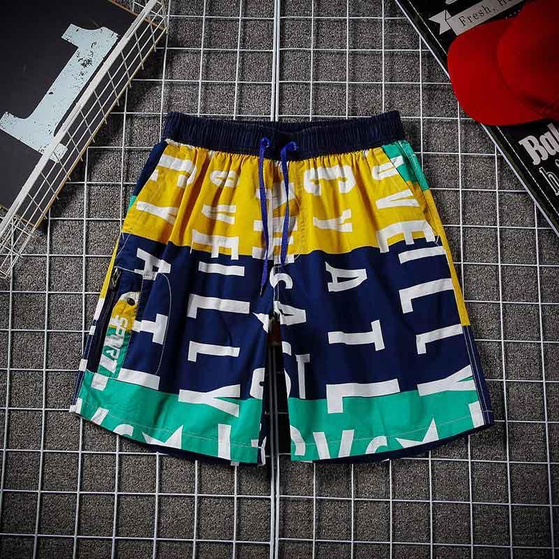 Hommes Pantalons haut Hip-Hop taille élastique Shorts Pantalons Mode Printed Casual pantalons de plage en vrac Taille: L-3XL