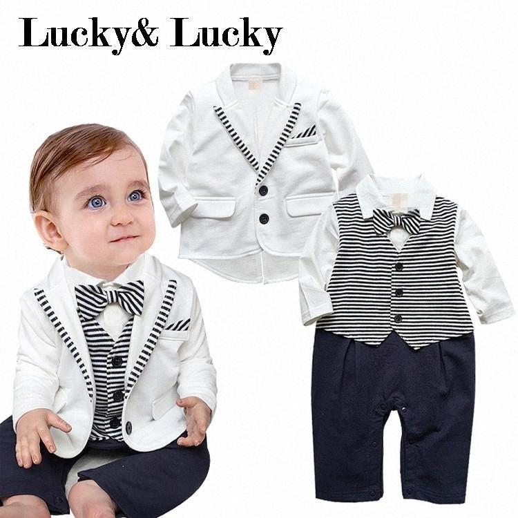 newborn clothing sets 2020 new arrival baby boy clothes baby rompers+ coat with tie formal party wear m8Tx#