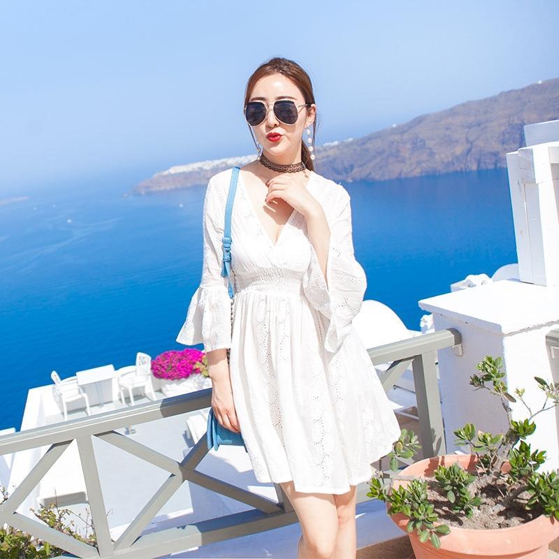 Verão 2020 rendas praia vestido de praia das mulheres saia nova Hainan Sanya Mar rendas temperamento férias emagrecimento saia vestido branco