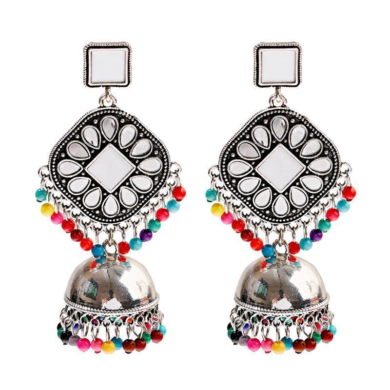 Perline colorate Moda nappa Jhumka orecchini dei monili per le donne ragazze Gold Metal Specchio quadrato orecchini di goccia dell'acqua