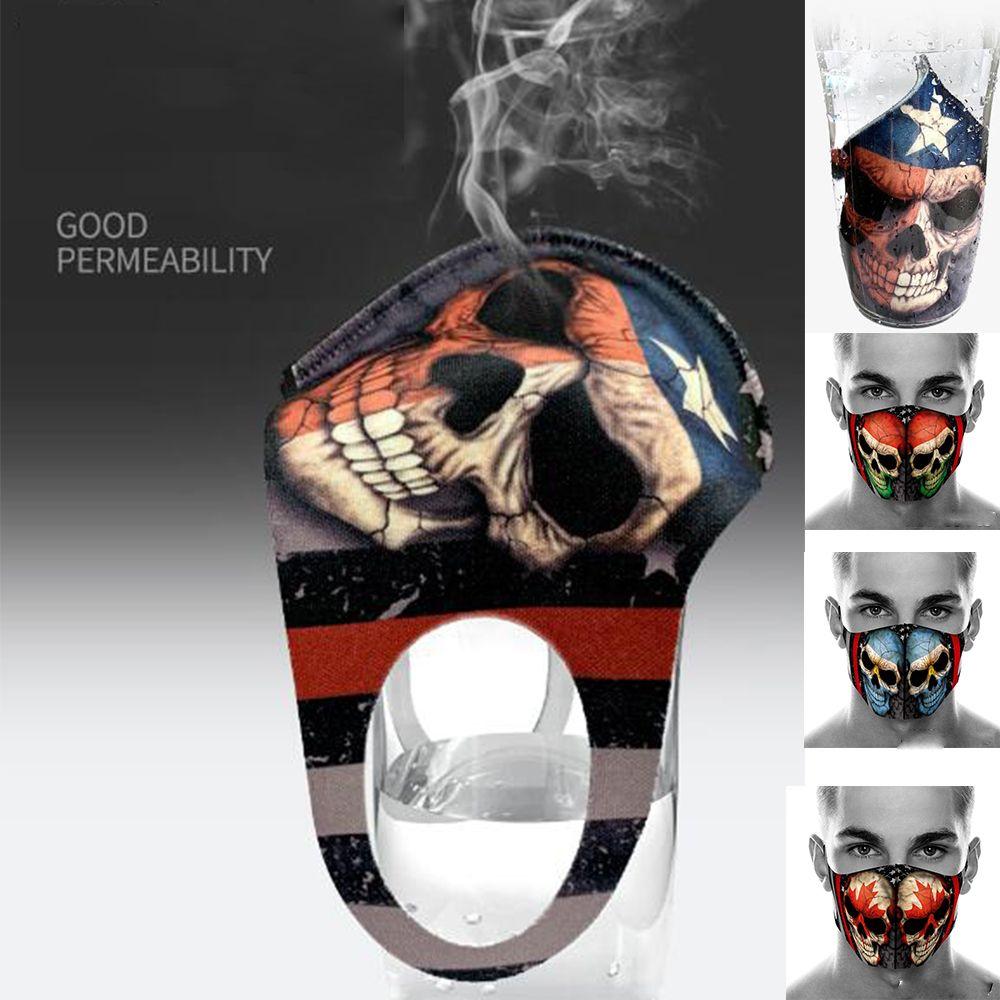 многоразовая голова американского флага призрак вокруг печати маски игры пыль маски Halloween череп косплей маска дизайнер маски для лица хлопок крышки