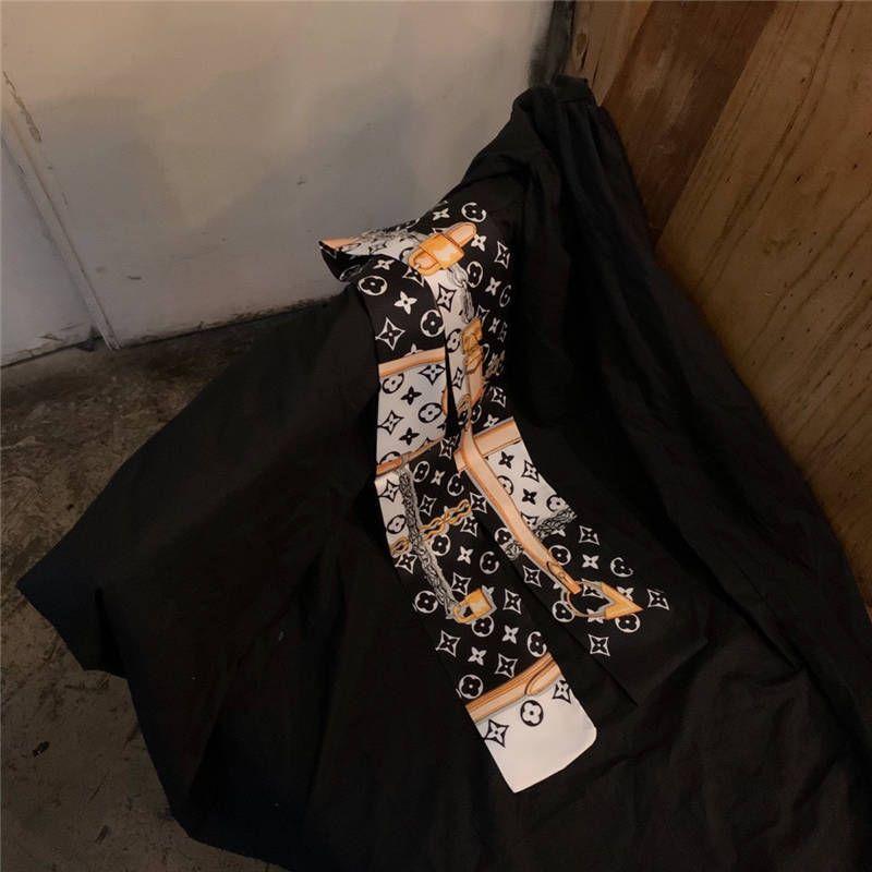2020 Mode Serie Doppeldruck Twill kleine Krawatte Tasche Griff Nachahmung Seidenschal Seidenband Stirnband Schal Kopftuch freies Verschiffen