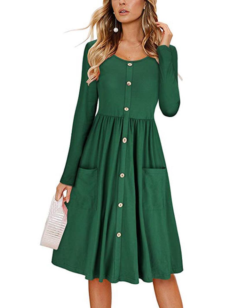 Manga vestido de las mujeres de moda de primavera larga O Cuello con botones oscilación Vestido a media pierna con los bolsillos de la playa vestido de primavera fz6264