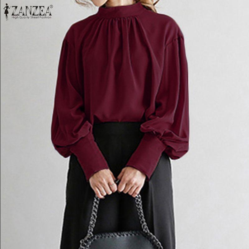 Women's Blouses & Shirts 2021 Fashion ZANZEA Women Puff Sleeve Stand Collar Blouse Lady Work Office Chic Elegant Solid Tunic Tops Chemise Ov