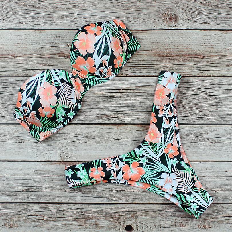 Imprimer Floral Sexy Bikini 2020 Leopard maillot de bain rouge Push Up Maillots de bain Bikini Set brésilien Spandex Beach Wear maillot de bain Biquini