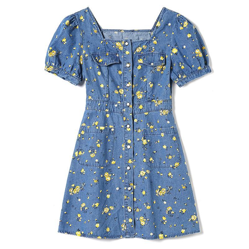 XZ700074 2020 летней женщины новый свежий квадратный воротник пузырь рукав джинсовой печататься тонкий платье