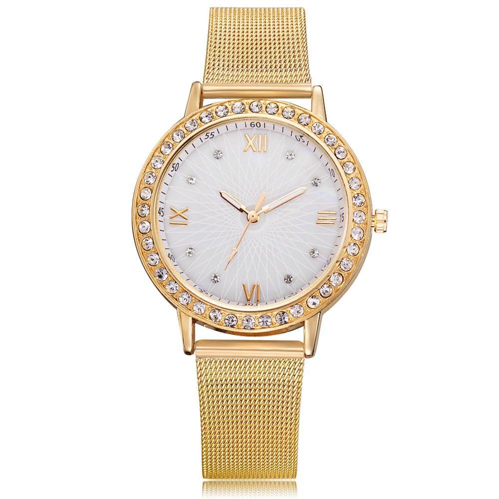 einfache roma-Legierung Gürtel Diamantkristall Frauen Damen Uhren Großhandel Modestudenten der beiläufige Kleid Quarzarmbanduhr Geschenk Netz