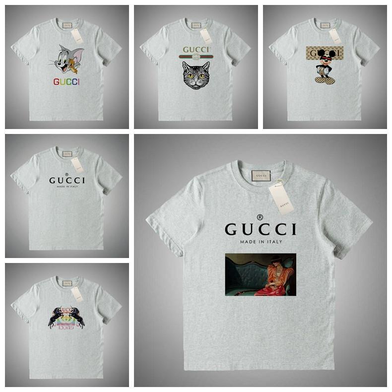 GUCCI Los hombres de la moda camisetas de las mujeres camiseta de manga corta de verano letras impresas 100% de Hip Hop del algodón de la camiseta del tamaño S-XXL # 42355
