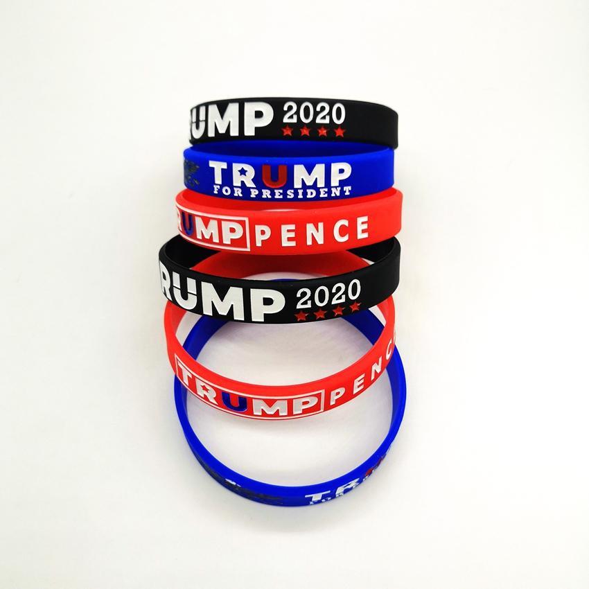 Trump de silicona Pulseras de goma de apoyo brazaletes de las pulseras hacer de Estados Unidos Donald Trump 2020 AHF506 regalo de joyería
