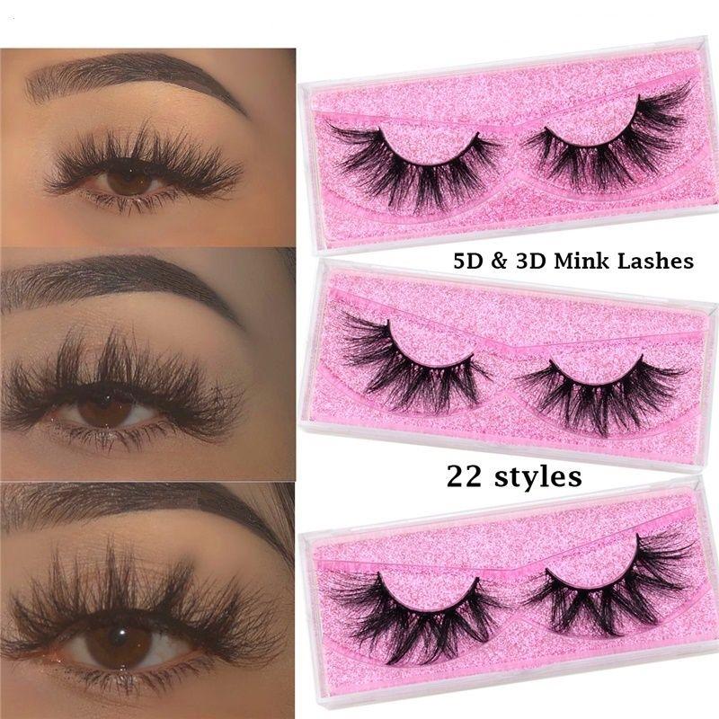 UPS! 22styles Mink Eyelash Vendor Petras Fábrica 100% Crueldad Lujo gratis 15 mm 20 mm 25 mm 5D 6D 8D Pestañas Full Strip Peachesheses