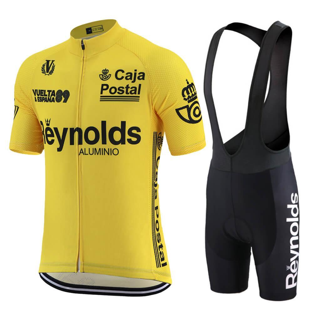 여름 클래식 프로 경주 사이클링 저지 설정 노란색 짧은 소매 남성 승마 의류 팀 도로 자전거 의류 턱받이 반바지 MTB 자전거 저지