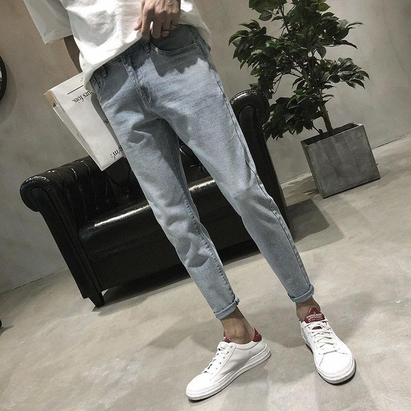 2018 Primavera Autunno stile coreano popolare giovanile slim fit casual Jeans Maschio adolescenti Confortevole Blue Sky noni Pantaloni Uomo 27-34 hDj7 #