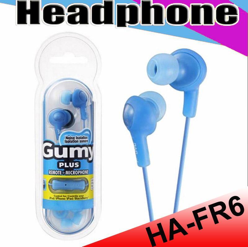 غومي HA FR6 غائر سماعة أذن صغيرة 3.5mm في سماعة HA-FR6 غومي زائد مع MIC لالروبوت الهاتف الذكي مع حزمة البيع بالتجزئة MQ50