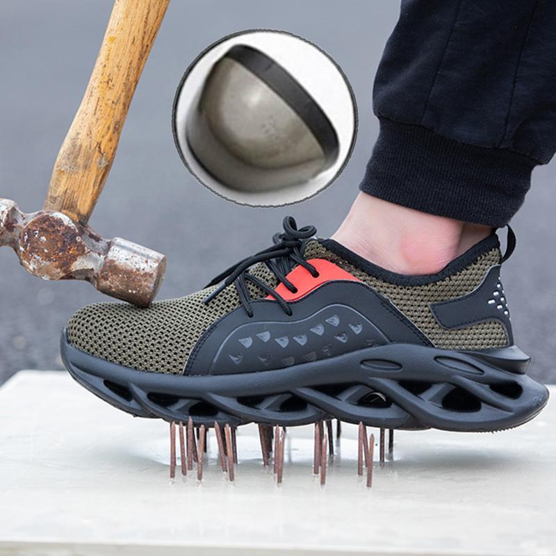 Sapatos de segurança botas dos homens respirável com das Toe Aço Cap Men Casual Botas Trabalho Indestrutível Shoes prova de punção Sapatilhas Trabalho