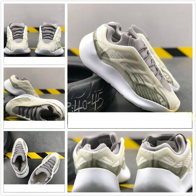 Azael Alvah oeste kanye 700 V3 tênis branco brilho nos homens escuros as sapatilhas das mulheres do estilista da forma