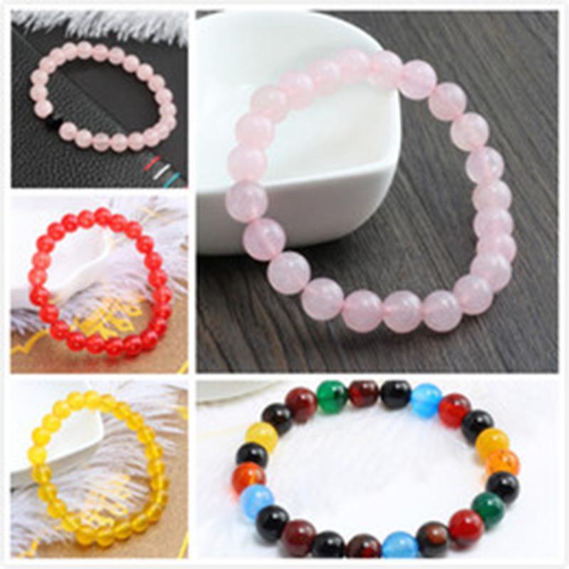 Bracciale Frosted nero braccialetto rosa quarzo del braccialetto 8 millimetri rosa cristallo naturale Stretch Reiki Colore rubino Agata Colore giallo Giada