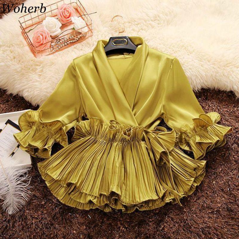 Woherb 2020 Ruffles Primavera Outono profundo decote em V camisas Lace Up Chiffon Blusas de mulheres elegantes Escritório Blusas Ladies plissadas Tops T200720