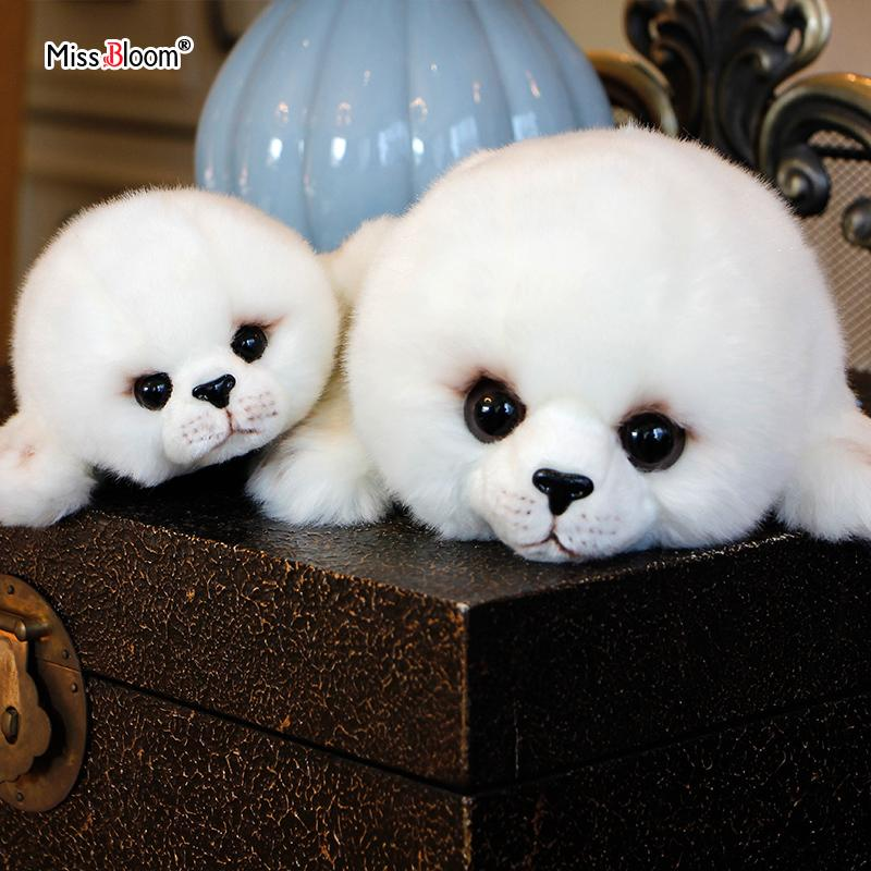 Dropshipping Soft Cute Seals Plush Toy Sea World Animal Sea Lion Plush Stuffed Doll Big-Eyes Baby Birthday Gift for Kids Dolls T200731
