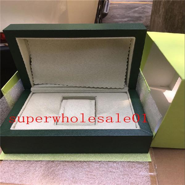El envío libre de los nuevos del estilo del reloj verdes Papeles regalo mira cajas bolsa de cuero para los hombres Caja de reloj Rolex Box