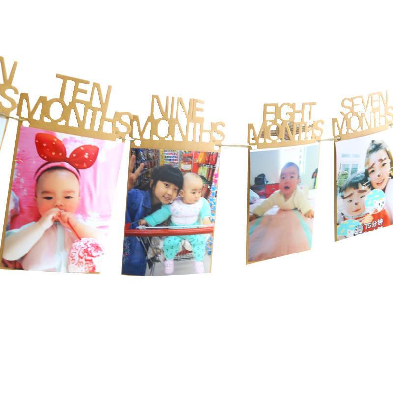 Marco de la pared Photo 1ª Baby Picture Display colgar de la pared DIY álbum de fotos Kraft cumpleaños Cadena bandera decoración del partido