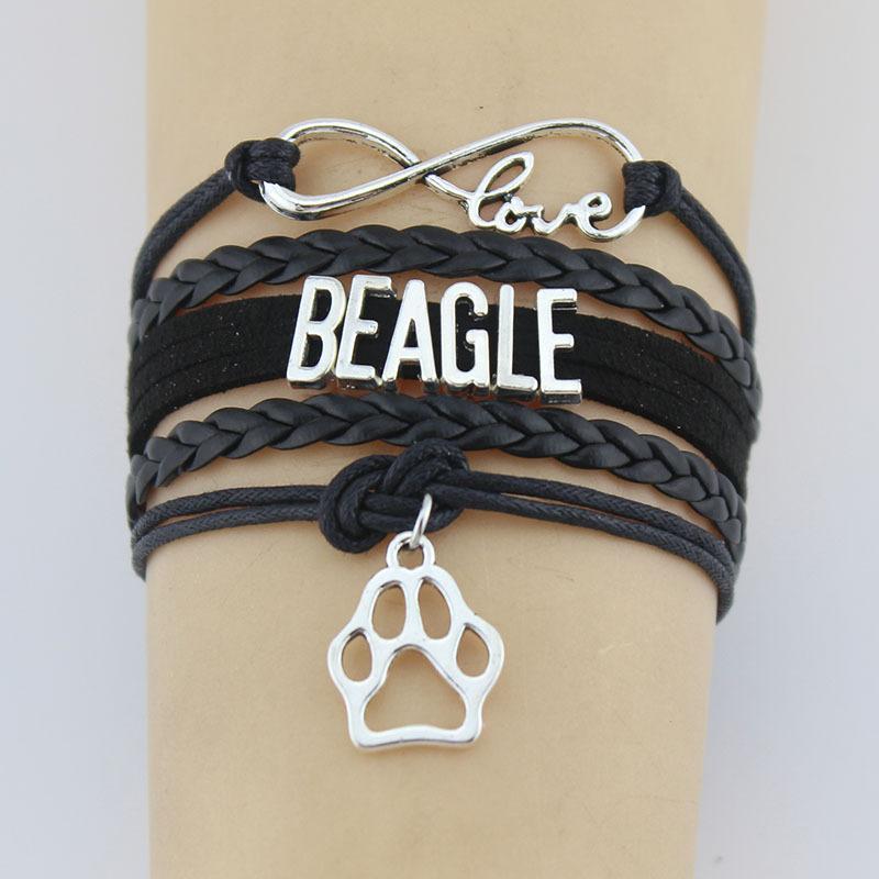 Cadena tejida mano Beagle Animal garra pulsera tejida mano