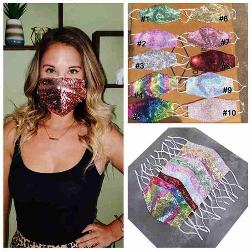 10 Styles Sequin Glitter Mask Bling Bling Sequin Protective Mask Dustproof Washable Reusable Face Mask CYZ2524 500Pcs