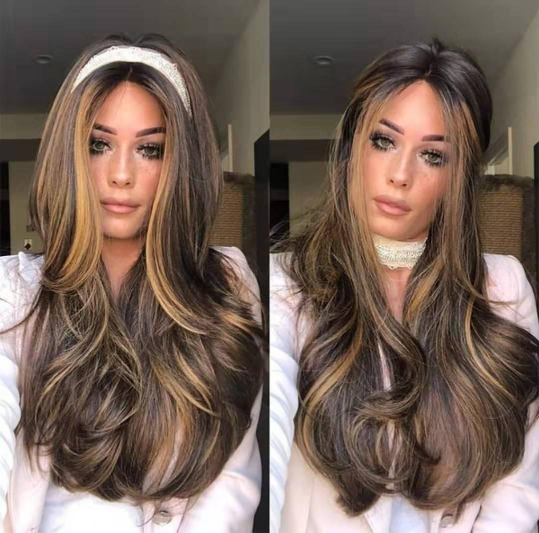 Uzun Dalgalı Kadınlar Doğal Saç Peruk ile Yan Bölüm Ombre Sentetik Peruk Platin / Sarışın Isıya Dayanıklı Peruk İçin Kadınlar