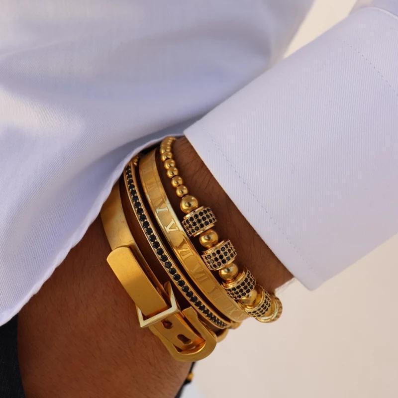 4pcs / Set de lujo de los hombres de acero de titanio pulsera pulsera romana numeral de herradura para los hombres de la hebilla del brazalete Pulseira Bileklik joyería