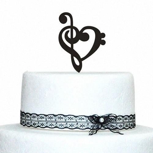 Música personalizada Nota primeros de la torta de boda con diseño del corazón de acrílico de la torta 4Zq9 #