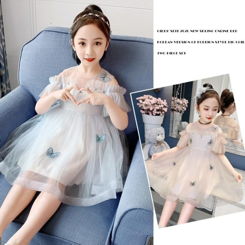 farfalla 2020 estate nuove ragazze principessa garza vestito alla moda di stile coreano per medie e grandi bambini