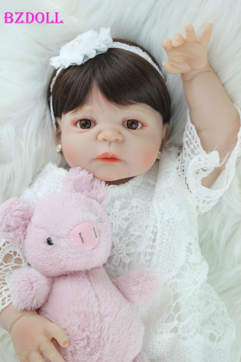 BZDOLL 55cm Tam Silikon Vücut Reborn Kız Baby Doll Oyuncak Lifelike Vinil Prenses Bebek Doll Doğum Hediye Kız Brinquedos T200712