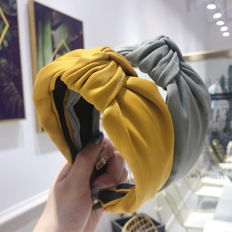 Accessoires de cheveux Xugar Femmes Satiné Bandes de cheveux noués à nœuds de couleur massif pour filles Simple Tissu Hoops