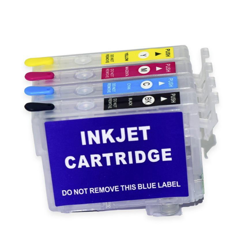 Cartucho de tinta recargable de 4 colores-SET T702 T702XL para Epson Workforce Pro WF-3720 WF-3733 WF-3730 Impresora Sin chip