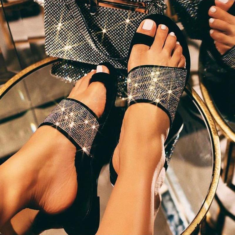2020 SAGACE лето женщин Плоского Bling Тапочки Прозрачной мягкой Обувь Женская Вьетнамка Сандалии Открытого пляж Слайды Плюс Размер A525ad96 #