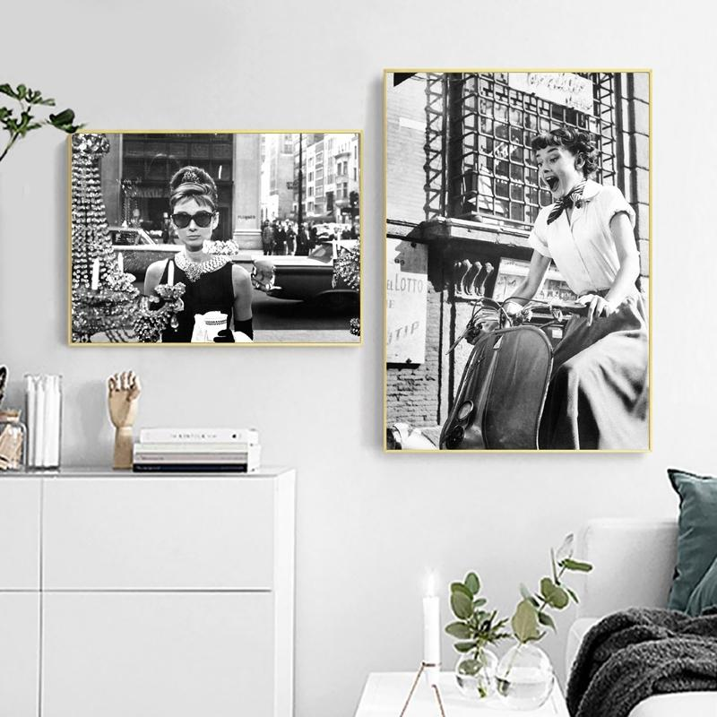 Diosa británica actriz pared del arte de la impresión lona de la manera Poster fotografía Negro Blanco lona Pintura Fotos de habitaciones Decoración moderna