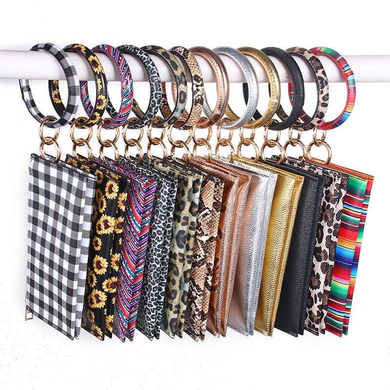 Bracelet cuir tournesol Bracelet deux couches bourse léopard embrayage sac à main serape bande porte-clé sac pochette téléphone