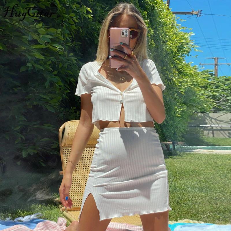 Hugcitar 2020 kısa kollu hırka seksi kırpma üst yarık 2 adet etek set yaz kadın moda, gündelik kıyafet kıyafetler eşofman