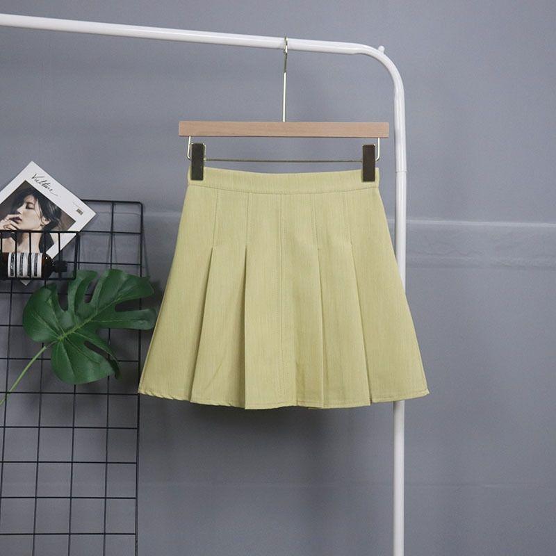 8aKWm [Anexo] leche verde del verano falda protección contra la intemperie línea A- A- plisada s LÍNEA coreana estilo de alta cintura que adelgaza plisado 2019 2139