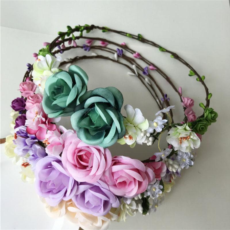 Горячей продажи моды невеста волос венка дети искусственные цветы повязка новорожденный стильную лента для волос для девочек браслета украшения Венка