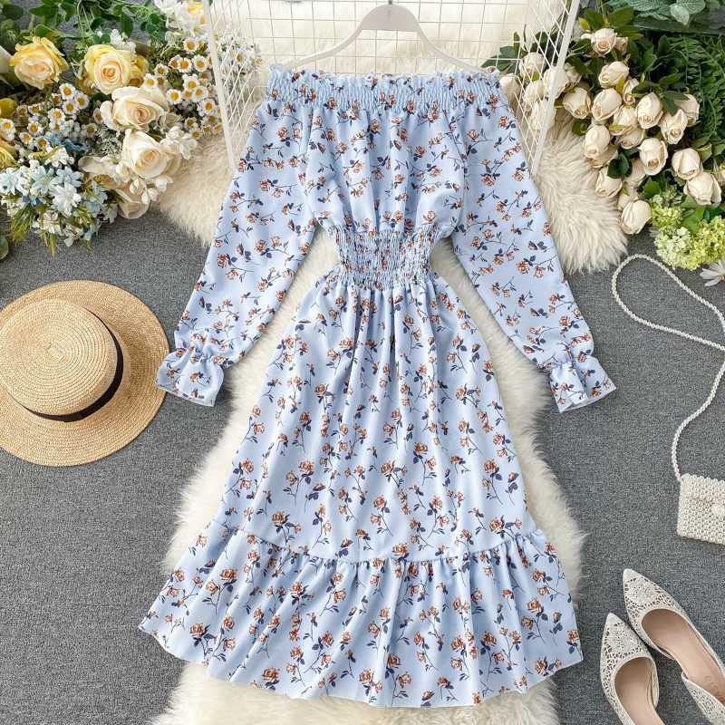 2020 New Off Shoulder Summer Dress Women White Beach Boho Party Dresses Midi Casual Floral Sundress Female Clothing