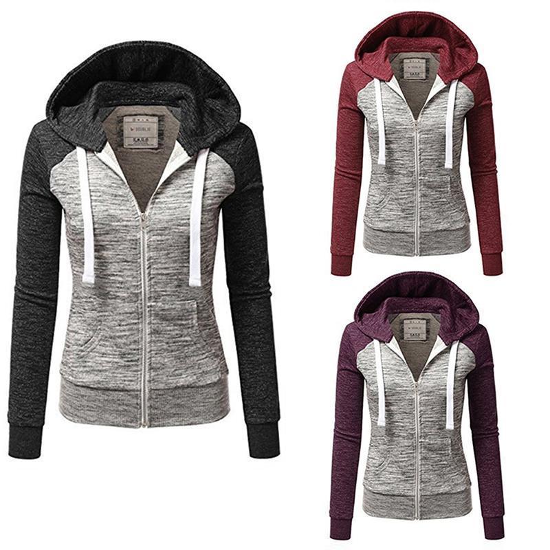 Женщины с капюшоном куртки Бег Йога Jacket Zipper Фитнес Одежда Top Sport Gym Спортивная толстовка