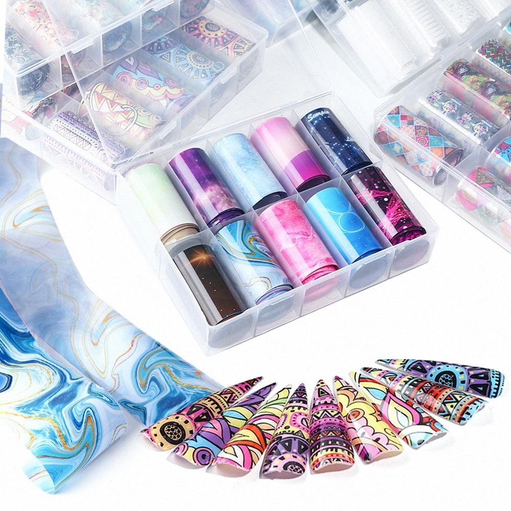 10 Rollos de uñas transparente Transferencia de Arte de la hoja pegatinas cielo estrellado UV Gel Nail Wraps Adhesivo Adhesivos de manicura de la decoración TRXKH ZjbM #