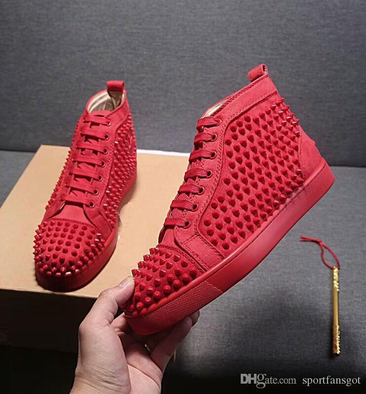 Big Size Eur36-47 Designer Shoes High Cut Red fundo de Spike Sedue bezerro sapatilha de luxo de casamento Partido Shoes couro genuíno Casual Shoes