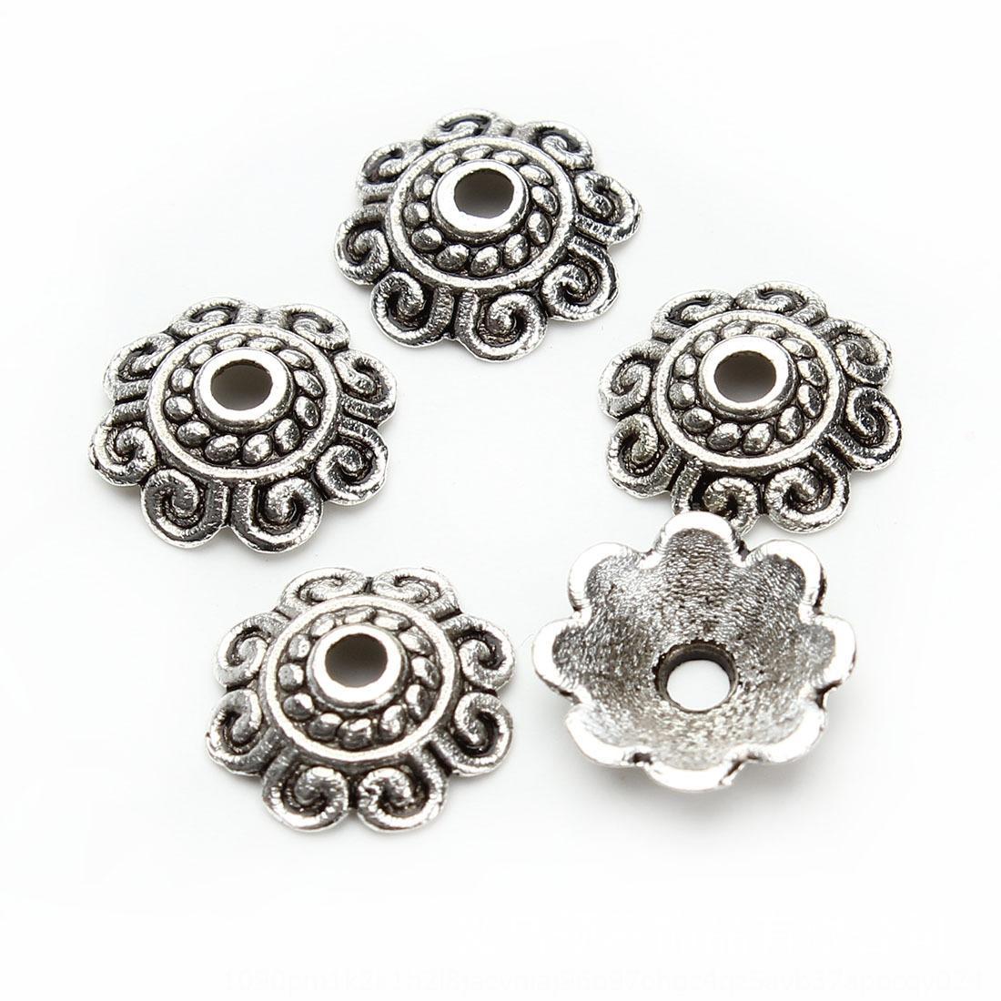 DIY aksesuarlar malzeme Tibet gümüş donatıları kolye Diy bir paket 100 boncuk gevşek boncuk çiçek tutucu F2922 kolye
