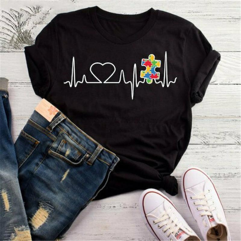 T-shirt da pulsação do coração do enigma do autismo Professor do autismo camiseta Consciência do verão camisetas