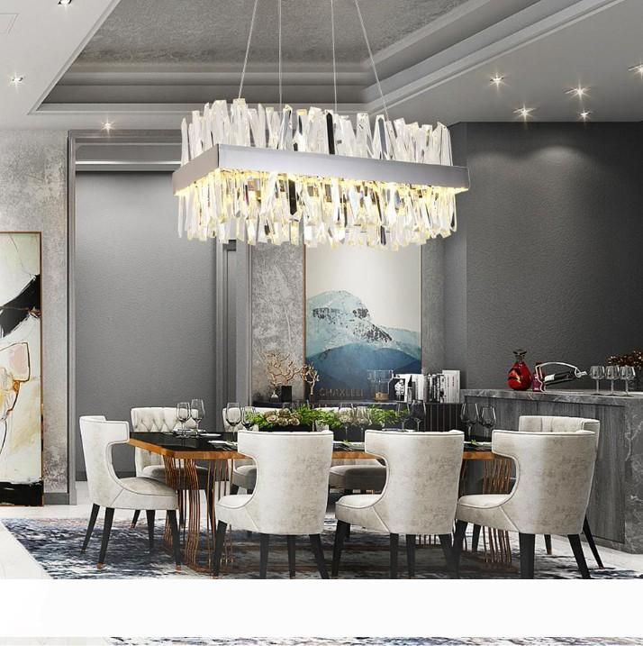 Роскошный прямоугольник хрустальная люстра для столовой кухонного острова лампы висит современные люстры привели в помещении светильников LLFA