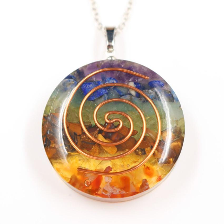 Renkli Toptan 10 adet Gül Altın Kaplama Spiral Gökkuşağı Taşı ve Reçine kolye Şifa Chakra kolye Orgon Enerji Takı